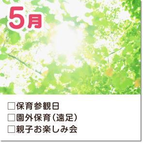 5月-保育参観日・園外保育(遠足)・ぎょう虫卵検査