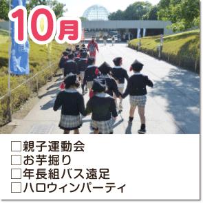 10月-親子運動会・お芋堀り・年長組バス遠足・ハロウィンパーティ