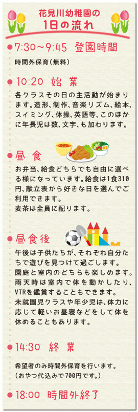 花見川幼稚園の1日の流れ